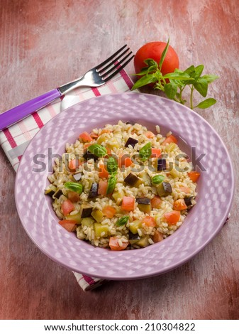 risotto with eggplant and fresh tomatoes - stock photo