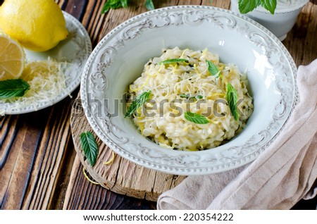 Risotto with lemon and mint - stock photo