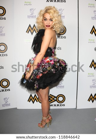 Rita Ora in the press room for The MOBO awards 2012 held at the Echo Arena, Liverpool. 03/11/2012 Picture by: Henry Harris