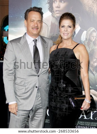 Rita Wilson and Tom Hanks at the Los Angeles premiere of 'Cloud Atlas' held at the Grauman's Chinese Theatre in Hollywood on October 24, 2012.  - stock photo