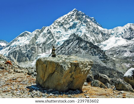 Ritual pyramid on the trek to Everest - Everest region, Nepal, Himalayas - stock photo