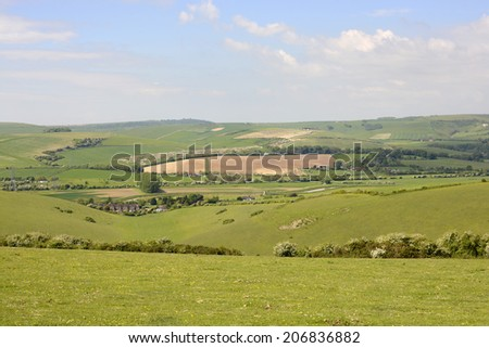 River Adur valley at Shoreham. West Sussex. England. Looking North - stock photo