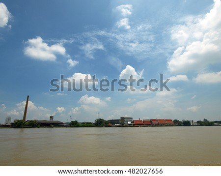 river and blue sky with light clouds