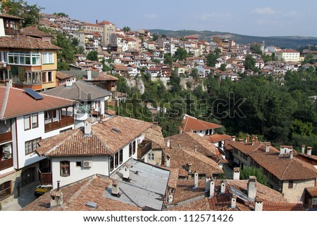 River and houses in Veliko Tirnovo, Bulgaria
