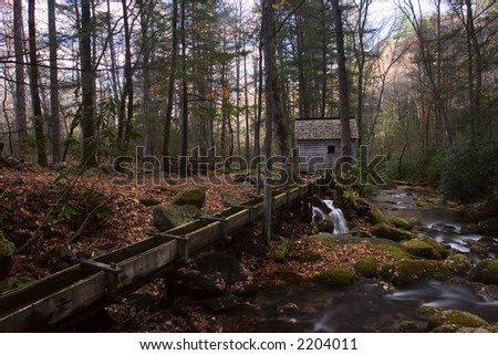 River and Mill in Roaring Fork Motor Trail Smoky Mountains - stock photo