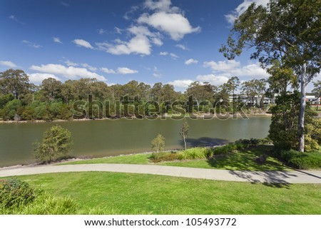 River and park view in luxury Australian suburb