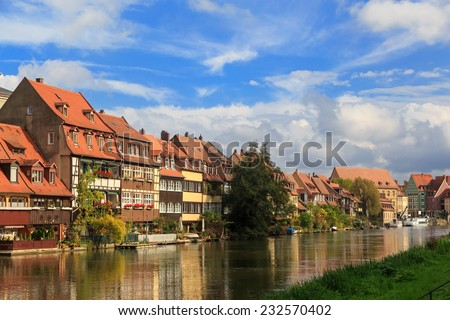 River and vintage houses in Bamberg, Germany