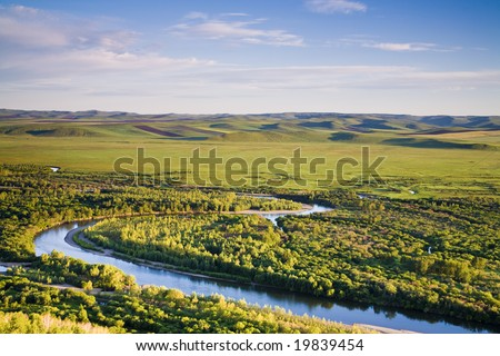 river at dawn in the north of china - stock photo