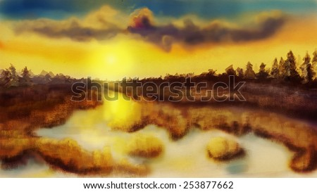 River at sunset, digital drawing, sketch - stock photo