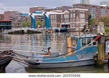 River bay and Binnenhavenbrug bridge in the city of Rotterdam, Holland, Netherlands. - stock photo