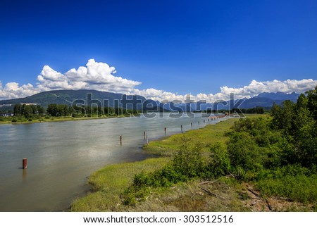 River, beach and mountains