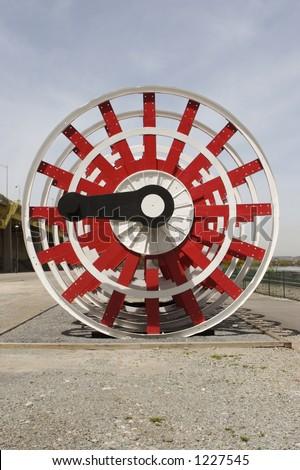 River Boat Paddle Wheel - stock photo
