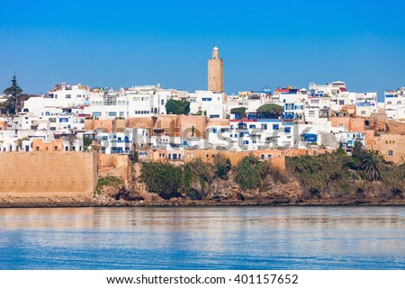 River Bou Regreg seafront and Kasbah in medina of Rabat, Morocco. Rabat is the capital of Morocco. Rabat is located on the Atlantic Ocean at the mouth of the river Bou Regreg. - stock photo