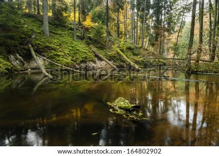 River Brda in north Poland/Autumn time-Autumn river - stock photo