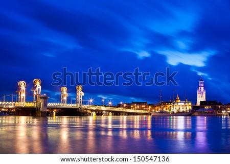 River Bridge in the Historical City of Kampen, Overijssel, Netherlands by Night - stock photo