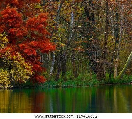 River Corner in Autumn - stock photo