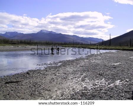 River Crossing, Brooks Range, Alaska - stock photo