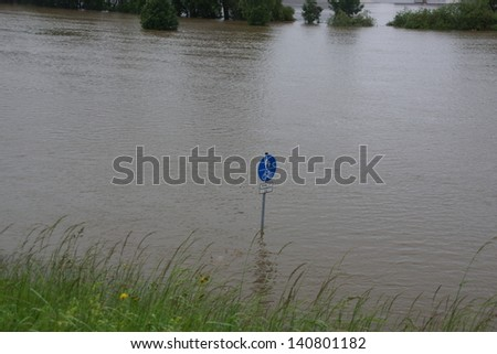 River Danube / Donau in Bavaria with flood water - stock photo