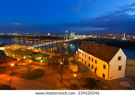 River Danube in the center of Bratislava, Slovakia. - stock photo