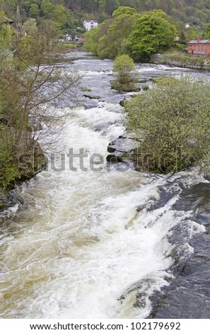 River Dee rapids at Llangollen in North Wales - stock photo