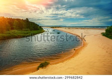 River delta on the sea coast, Latvia - stock photo