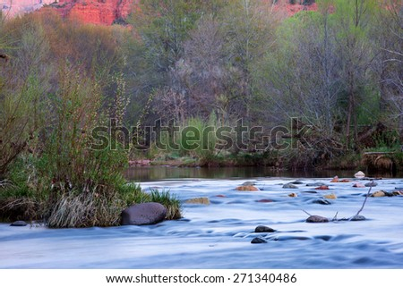 River detail at the foot hill of the famous Castle Rock Arizona, AZ, an American landmark - stock photo
