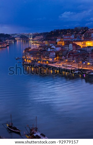river Douro and old town of Porto, Portugal at sunset - stock photo