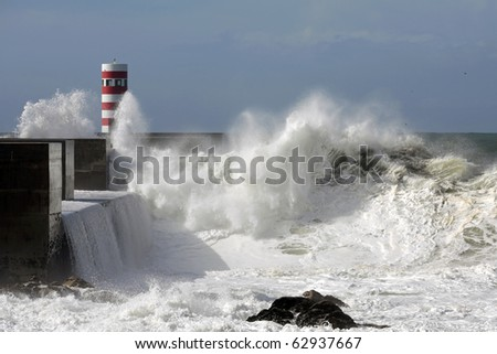 River Douro mouth in a stormy morning - stock photo
