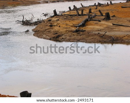river eco-vandalism - stock photo