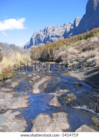 River falling from the high mountain - Andringitra park - Madagascar. - stock photo