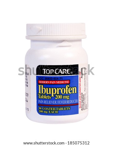RIVER FALLS,WISCONSIN-APRIL 1,2014: A bottle of TopCare Ibuprofen Tablets. Ibuprofen is a nonsteroidal drug for treatment of pain,fever,and inflammation.