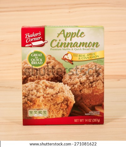 RIVER FALLS,WISCONSIN-APRIL 20,2015: A box of Baker's Choice apple and cinnamon muffin mix. Baker's Corner products are sold at Aldi supermarket stores. - stock photo