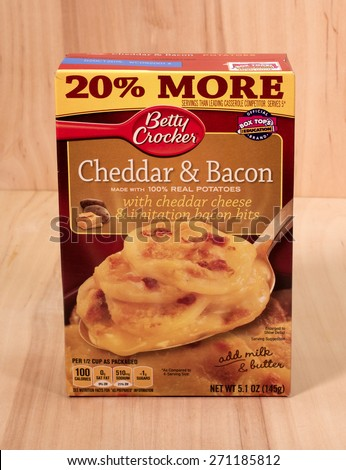 RIVER FALLS,WISCONSIN-APRIL 20,2015: A box of Betty Crocker Cheddar and Bacon potatoes. Betty Crocker products are distributed by General Mills of Golden Valley,Minnesota. - stock photo