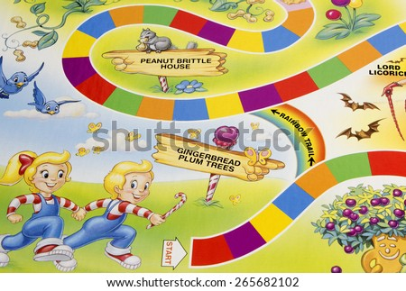 RIVER FALLS,WISCONSIN-APRIL 1,2015: A Candy Land game board showing the start position. Candy Land was first published in Nineteen Forty Nine by Milton Bradley. - stock photo