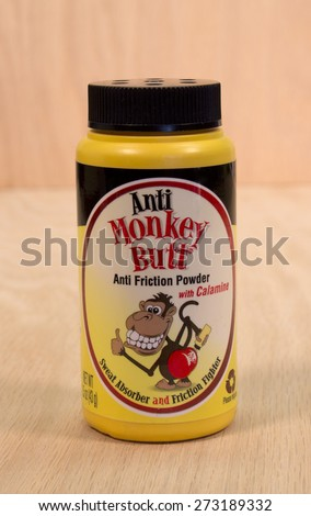 RIVER FALLS,WISCONSIN-APRIL 27,2015: A container of Monkey Butt anti friction powder. This product is distributed by DSE Healthcare Solutions of Edison,New Jersey. - stock photo