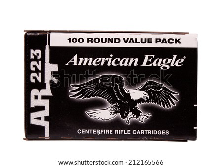 RIVER FALLS,WISCONSIN-AUGUST 21,2014: A box of American Eagle rifle ammunition. American Eagle is a product of Federal Premium Ammunition of Anoka,Minnesota. - stock photo