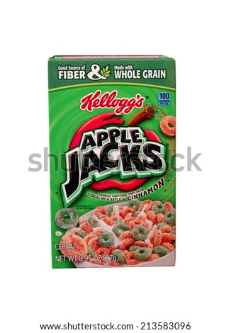 RIVER FALLS,WISCONSIN-AUGUST 28,2014: A box of Kellogg's Apple Jacks cereal. Kellogg's is headquartered in Battle Creek,Michigan. - stock photo