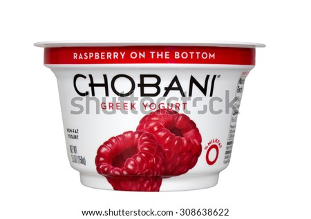 RIVER FALLS,WISCONSIN-AUGUST 21,2015: A container of Chobani brand raspberry greek yogurt. - stock photo