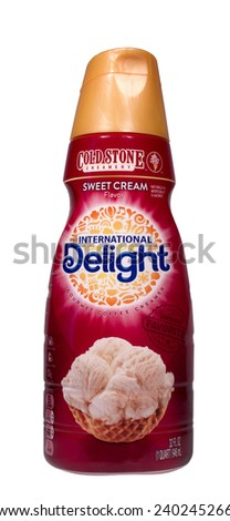 RIVER FALLS,WISCONSIN-DECEMBER 28,2014: A bottle of Cold Stone coffee creamer by International Delight. Cold Stone Creamery is an American ice cream parlor chain. - stock photo