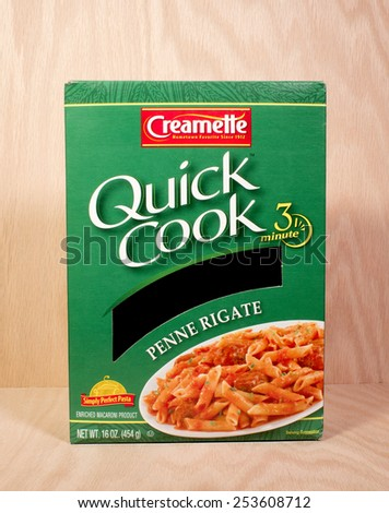 RIVER FALLS,WISCONSIN-FEBRUARY 16,2015: A box of Creamette brand Penne Rigate. Creamette is a product of New World Pasta Company. - stock photo
