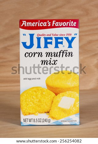 RIVER FALLS,WISCONSIN-FEBRUARY 25,2015: A box of Jiffy corn muffin mix. The Jiffy brand is owned by Chelsea Milling Company of Chelsea,Michigan. - stock photo