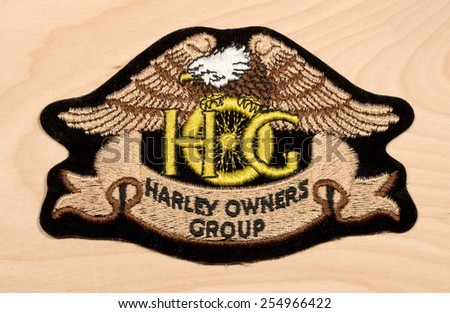RIVER FALLS,WISCONSIN-FEBRUARY 22,2015:A Harley Owners Group garment patch. Harley Owners Group was formed in Nineteen Eighty Three. - stock photo
