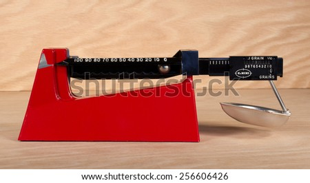 RIVER FALLS,WISCONSIN-FEBRUARY 27,2015: A Lee Precision balance beam powder scale. Lee Precision is located in Hartford,Wisconsin. - stock photo