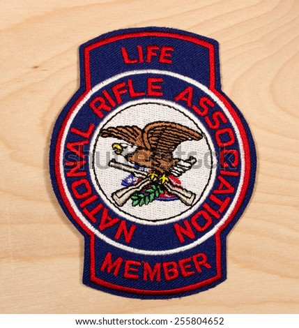 RIVER FALLS,WISCONSIN-FEBRUARY 24,2015: A National Rifle Association Life Member patch. The National Rifle Association was founded in Eighteen Seventy One. - stock photo