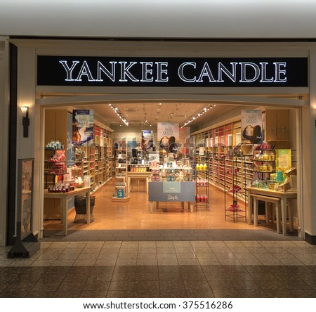 RIVER FALLS,WISCONSIN-FEBRUARY 11,2016: The Yankee Candle store retail sign. Yankee Candle is headquartered in South Deerfield,Massachusetts. - stock photo