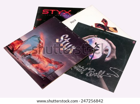 RIVER FALLS,WISCONSIN-JANUARY 26,2015: A collection of vintage Styx record albums. Styx has had Sixteen top forty hit singles in the United States. - stock photo