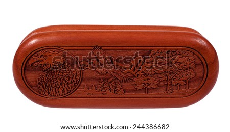 RIVER FALLS,WISCONSIN-JANUARY 15,2015: A typical example of a laser engraved wooden box. The first laser cutting machine was used in Nineteen Sixty Five. - stock photo