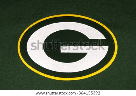 RIVER FALLS,WISCONSIN-JANUARY 16,2016: The Green Bay Packers emblem on a team sweatshirt. - stock photo