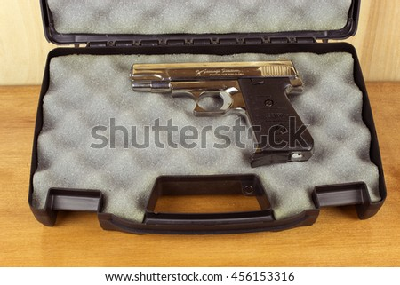 RIVER FALLS,WISCONSIN-JULY 21,2016: A Jennings three Eighty caliber semi-auto pistol. Jennings is a branch of Bryco Arms. - stock photo