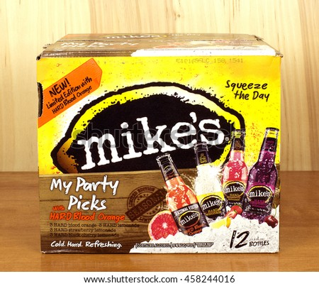 RIVER FALLS,WISCONSIN-JULY 25,2016: A variety pack of Mike's brand hard lemonade. - stock photo